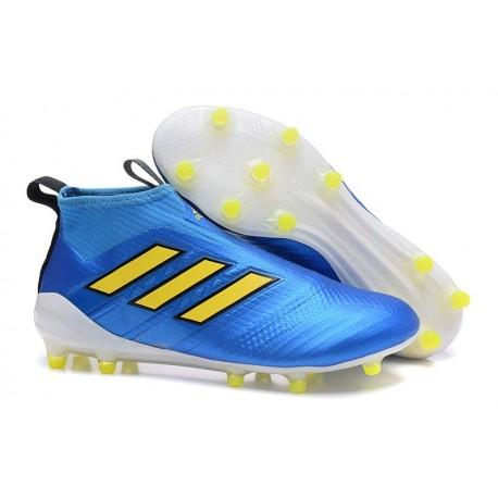 adidas Ace17+ Purecontrol FG - Nuovo Scarpa da Calcio Uomo - Blu Giallo
