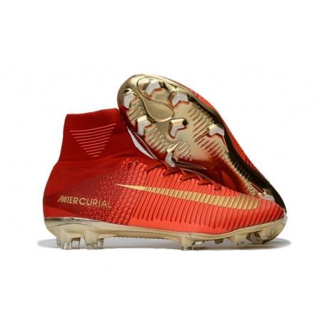 Nike Mercurial Superfly 5 CR7 FG Nuovo Scarpe Calcio Rosso Oro