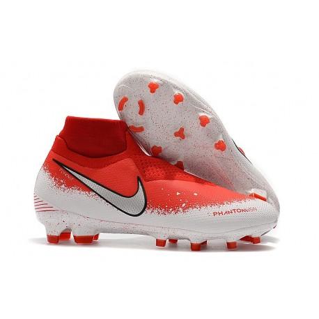 Nike Phantom Vsn Elite Df Fg Scarpa da Calcio - Rosso Bianco Argento