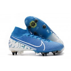 Nike Mercurial Superfly VII Elite SG PRO Anti-Clog Blu Bianco