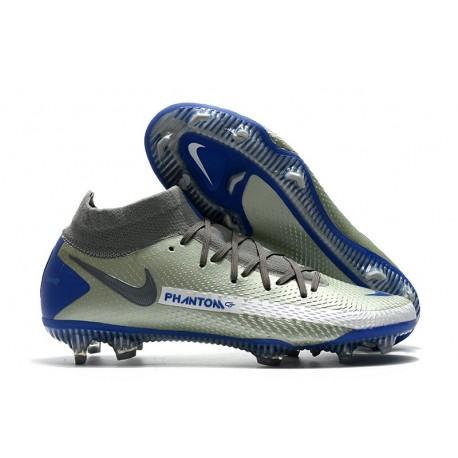 Nike Phantom GT Elite DF FG Nuovo Scarpa Argento Blu