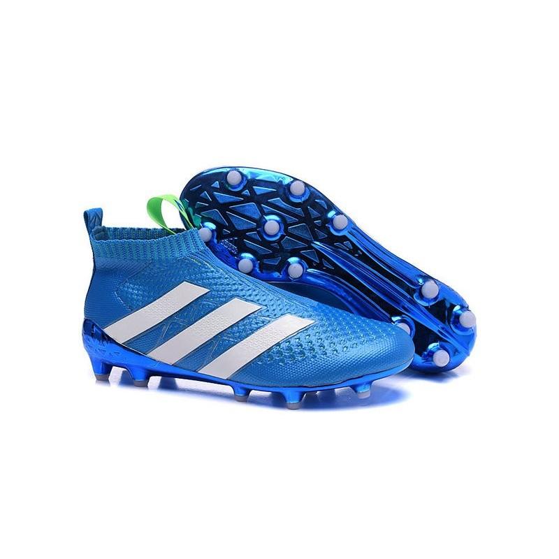 Scarpe da Calcio Nuovo 2016 adidas Ace16+ Purecontrol FGAG Blu Bianco