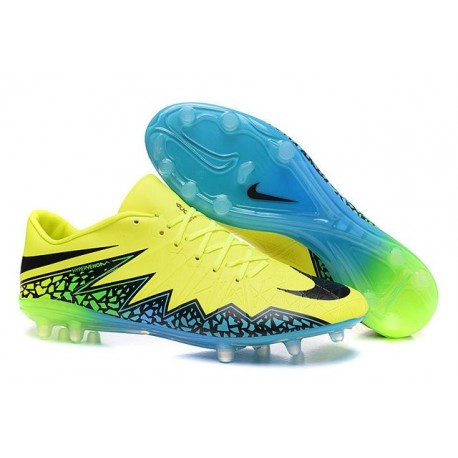 Neymar Nuovo 2016 Calcio Scarpe Nike Hypervenom Phinish FG Volt Nero Blu