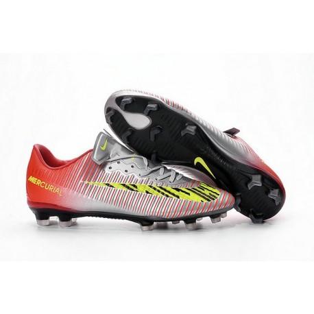 Scarpe Calcio Nuove Nike Mercurial Vapor XI FG ACC Rosso Metallico Giallo