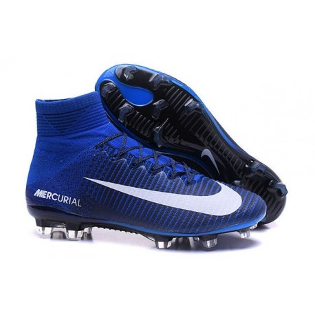 Nike Scarpa da Calcetto Nuove Mercurial Superfly 5 FG Blu Bianco