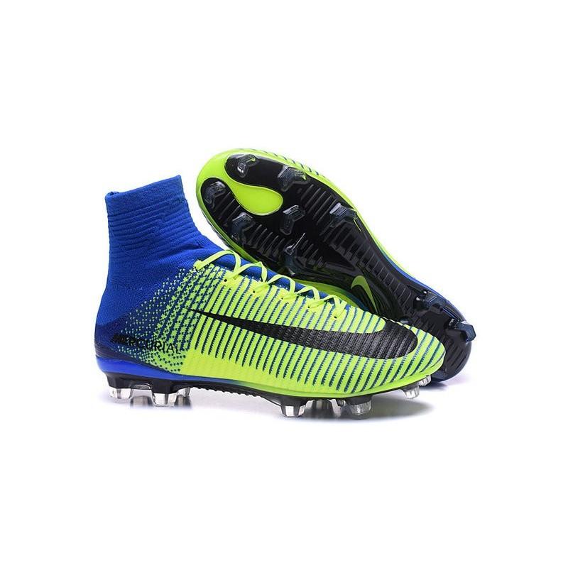 new arrival 7cc2b e8c42 Nike Scarpa da Calcetto Nuove Mercurial Superfly 5 FG Verde Blu Nero