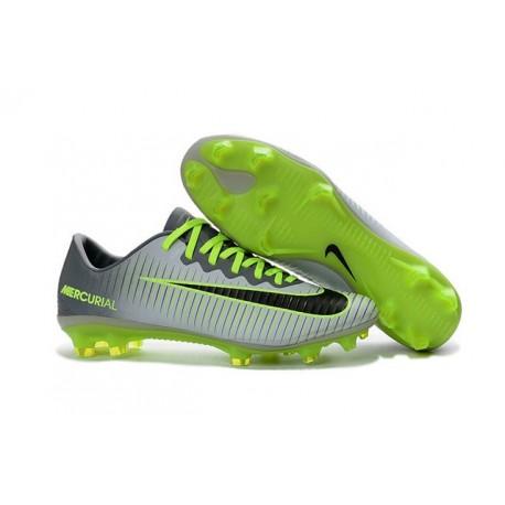 Nike Mercurial Vapor XI FG 2016 Scarpini da Calcio Grigio Verde Nero