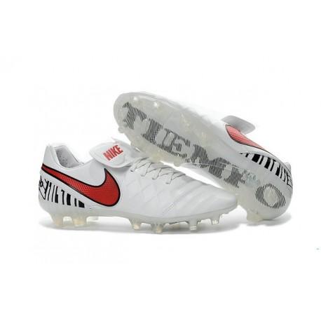 Nike 2016 Scarpette Calcetto Tiempo Legend 6 FG Pelle di Canguro ACC Bianco Rosso