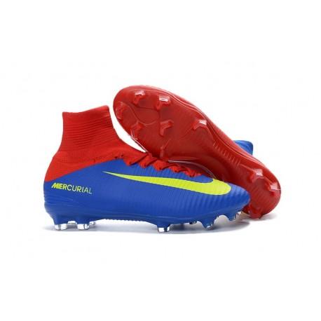 Nike Mercurial Superfly 5 FG Nuove Scarpe Calcio Rosso Blu Giallo