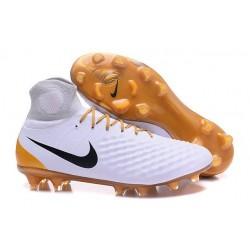Scarpe da Calcio Nuovo Nike Magista Obra II FG Bianco Oro