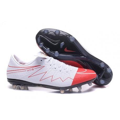 Rooney Nuovo 2016 Calcio Scarpe Nike Hypervenom Phinish FG Bianco Rosso