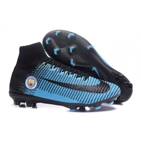Nuovo Nike Mercurial Superfly 5 FG Scarpe da Calcio Manchester City FC Blu Nero
