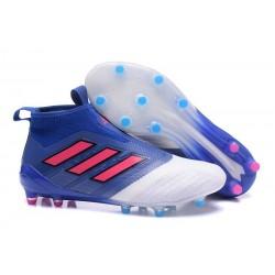 adidas Ace17+ Purecontrol FG - Nuovo Scarpa da Calcio Uomo - Blu Rosso Bianco