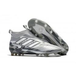 adidas Ace17+ Purecontrol FG - Nuovo Scarpa da Calcio Uomo - Grigio Bianco Nero