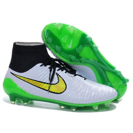 Scarpe da Calcio Uomo Nike Magista Obra FG Bianco Verde Veleno Nero