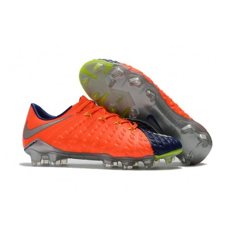 Scarpa da Calcio per Terreni Duri Nike Hypervenom Phantom III FG Arancio Blu