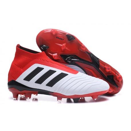 Scarpe da Calcio adidas Predator 18 + FG Uomo - Bianco Rosso Nero