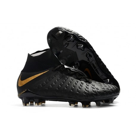 Scarpe da Calcio Terreni Compatti Nike Hypervenom Phantom III DF FG - Nero Oro