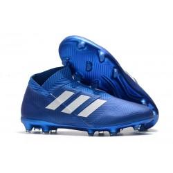 Adidas Scarpe da Calcio Nemeziz 18+ FG - Blu Bianco